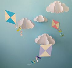 Large Hanging 3D Kites and Clouds (separates)/Baby Mobile/Nursery Mobile/Nursery Decor/Party Decor/Photo Prop