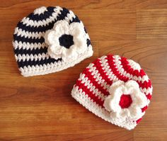 Crocheted Baby Twin Girls Hat Set White with by KaraAndMollysKids, $29.00