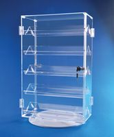 Double Locking Door Ring Case to display 120 ring boxes on a rotating base. Crystal Clear Acrylic gives this display a beautiful look on your countertop. Jewelry Store Design, Jewellery Display, Jewelry Stores, Acrylic Display Case, Ring Boxes, Thing 1, Slat Wall, Display Cases, Store Fixtures