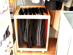 Love the functionality. Hanging space that uses only what is needed.