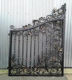 Metal Gates, Gate Design, Wrought Iron, Habitats, Stairs, Exterior, Decor, Gardens, Concrete Slab