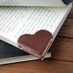 A Leather Bookmark Corner with Heart Shape, Made of Genuine Cattle Leather…