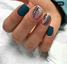 unique spring and summer nails color ideas that you must try 19 ~ my - Nails Teal Nails, Fancy Nails, Diy Nails, Cute Nails, Pretty Nails, Autumn Nails, Winter Nails, Summer Nails, Fall Nail Art