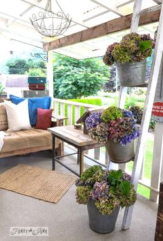 Outdoor Decorating/Gardening :     Forever beautiful buckets of hydrangeas on a ladder and how to dry  /  via FunkyJunkInterior…    -Read More –   - #Garden