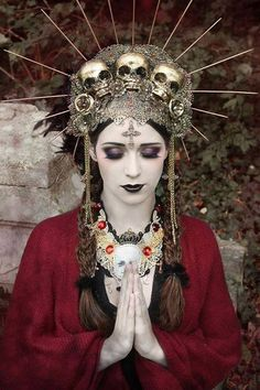 Gemma Louise Williams   Photography #praying #hands #eyes #closed #skulls #headpiece #religious #iconography