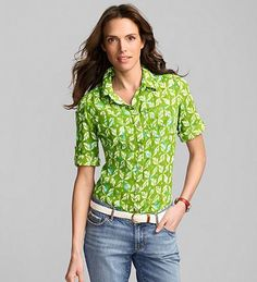 Eddie Bauer Patterned Roll-Sleeve Camp Shirt...great summer look