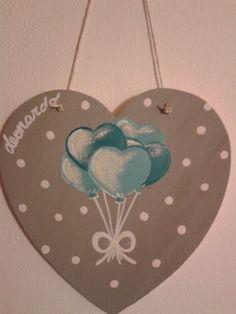 Hand painted wood heart_babies