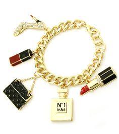 Glitz-N-Glorie - Luxe Life Charm Bracelet, $11.00 (http://www.glitznglorie.com/luxe-life-charm-bracelet/) #charm #bracelet #Brooklyn #boutique #nyc #style #accessory #fashionkilla #gold #bling #chanel