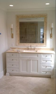 Gallery Website travertine tile bathroom white cabinet Google Search