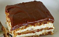 Cookie Desserts, No Bake Desserts, Delicious Desserts, Dessert Recipes, Hungarian Cake, Hungarian Recipes, No Bake Eclair Cake, No Bake Pies, Sweet Tarts