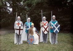 Actors dress for a pageant as Britannia and her four knights in Hampshire, England, November 1928.Photograph by Clifton R. Adams, National Geographic