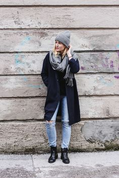 tifmys – Beanie and scarf: Acne Studios | Coat: Mango | Distressed denim: H&M | Boots: Edited | Lipstick: Astor Color Last VIP Fuchsia Allure 132