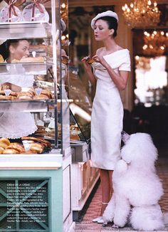 Audrey Marnay by Arthur Elgort for Vogue US (March 1999). Christian Dior dress.
