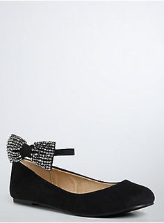 <p>A functional flat with bedazzled bows...can we just pair these with any look? A casual flat style gets a sleek upgrade thanks to black faux suede and wraparound ankle straps that gleam with dazzling rhinestone bows.</p>  <ul> 	<li>Man-made materials/Base metals</li> 	<li>Imported</li> </ul>