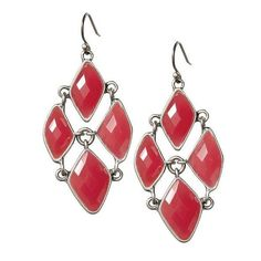 Lucky Brand Irregular Set Stone Chandelier Earrings ❤ liked on Polyvore