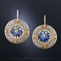 19th Century Roman Micro-Mosaic Vermeil Earrings - 20-1-5056 - Lang Antiques