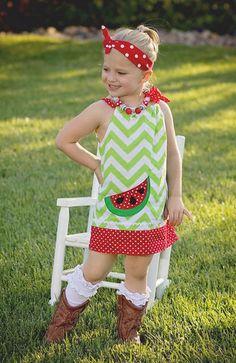 Lime Chevron Polka Watermelon Dress
