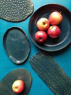 peacock blue plates Blue Plates, Peacock Blue, Clay Creations, Peach, Pottery, Fruit, Glaze, Food, Ceramics