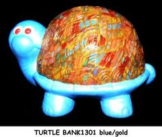 Polymer clay and acrylic paint over ceramic. Piggy Bank, Handcrafted Jewelry, Turtle, Polymer Clay, Dinosaur Stuffed Animal, Ceramics, Toys, Children, Painting