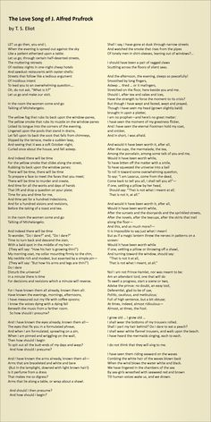 The Love Song of J. Alfred Prufrock - by T. S. Eliot. My all-time favourite poem, though I've measured out my life in teabags rather than coffee spoons.