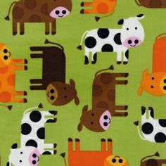 4 colors in this pattern. So cute!  Manufacturer: Robert Kaufman (AAK-12858-7)  Designer: Ann Kelle  Collection: Urban Zoologie Part 3  Print Name: Cows in Green