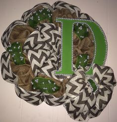 Burlap and Chevron Wreath with green accents and initial!