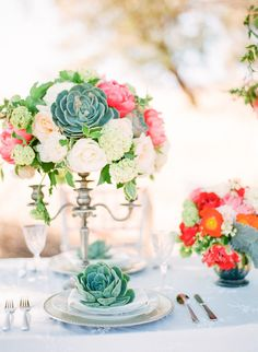 #succulent, #centerpiece  Photography: Coco Tran Photography - cocotranphotography.com  Read More: http://www.stylemepretty.com/2013/08/05/summer-inspired-photo-shoot-from-coco-tran-photography/