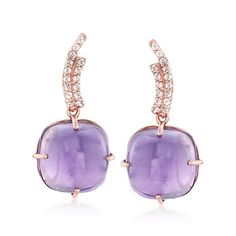 Cabochon Rose De France Amethyst and .30 ct. t.w. White Topaz Drop Earrings in 18kt Gold Over Sterling