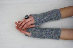 Cable gloves knit fingerless gloves grey arm warmers by BiiZii