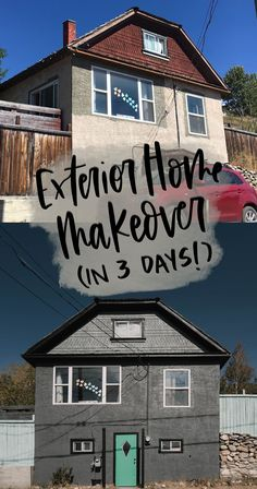 Sharing the before, after, and process of this exterior home makeover- a total transformation in just 3 days thanks to paint and a sprayer! #ExteriorMakeover #CurbAppeal #HomeMakeover Stucco Exterior, Exterior Paint, Home Decor Hacks, Decor Ideas, Using A Paint Sprayer, Modern Kids Bedroom, Blogger Home, Outdoor Furniture Plans, Exterior Makeover