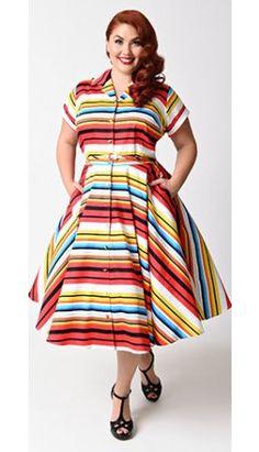 Unique Vintage Plus Size 1950s Style Multicolor Stripe Del Rey Shirtdress