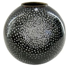 Jean Dunand Coquille d' Oeuf Lacquered Vase, 1920's.