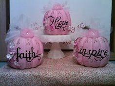 ✿ڿڰۣ previous pinner: Pink pumpkins created in honor of my dear aunt Margene. These will be on display during October at Mercy Clinic in Springfield. Pink Pumpkins for Breast Cancer Awareness Month cancersurvivorparty Breast Cancer Party, Breast Cancer Wreath, Breast Cancer Crafts, Breast Cancer Fundraiser, Pink Out, Breast Cancer Support, Breast Cancer Awareness, Pink October, Pink Pumpkins