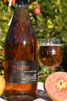 Alpenfire GLOW Rosé hard cider:  Glow is a single varietal rosé cider.  The color in this unique cider comes not from the skin like in a wine rosé, but from the bright red flesh of the Hidden Rose apple.  This incredible apple makes a cider with a crisp acidity and a tropical fruit flavor