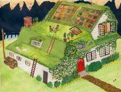 Pátio da casa = telhado