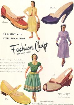 Four wonderful Fashion Craft summer shoe styles from 1952. #vintage #1950s #shoes #ads