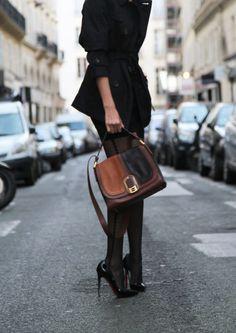 jacket, tights, leather, heels, black, fashion