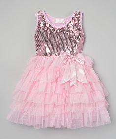 Loving this Pink Sequin Bow Dress - Infant, Toddler & Girls on #zulily! #zulilyfinds