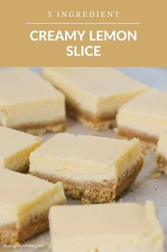 A classic baked creamy lemon slice made with just 5 ingredients - sweetened condensed milk, eggs, lemon juice, cookie crumbs and butter! This family favourite slice takes less than 10 minutes to prepare... and tastes AMAZING!!! #creamy #lemon #slice #baked #sweetened #condensed #milk #bars #dessert #thermomix #conventional Tray Bake Recipes, Lemon Dessert Recipes, Lemon Recipes, Sweet Recipes, Cooking Recipes, Scone Recipes, Condensed Milk Desserts, Condensed Milk Cookies, Recipes Using Condensed Milk