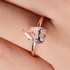 Pear Shaped Morganite Engagement Ring Rose Gold Solitaire