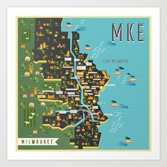 Mapping Milwaukee Art Print by Manuja Waldia . Worldwide shipping available at…