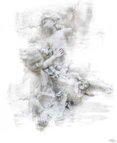 These two little cherubs look like they are having fun. The photograph was taken at the Louvre, Paris, France. I added texture and brushwork