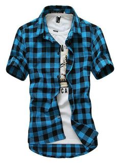 0650174ca25 Men s Cotton Plaid Quality Button Up Casual Shirt M-2XL 4 Colors – Floessence  Mens