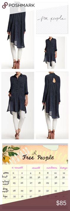 "Free People Sammy Jo Hi Lo Shirt Dress.  NWT. Free People Navy/White Stripe Combo Sammy Jo Hi Lo Shirt Dress, 100% cotton, machine washable, 21"" armpit to armpit (42"" all around), 18.5"" arm inseam, 35.5"" front length, 41"" back length, 11"" side slits, spread collar, long sleeves with single button closure, partial front button closure, keyhole back, two patch chest pockets, two slash pockets, split side seams, high low hem, allover print, crinkle fabric, measurements are approx.  NO TRADES…"