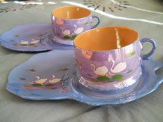 Antique Japanese Tea Cups with Matching Dainty Desert Plates From the 1940's