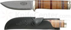 "Fallkniven Northern Light NL5 Idun, Cowry X 4"" Damascus Blade, Leather Sheath - KnifeCenter - FNNL5CX"