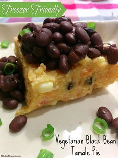 Vegetarian Black Bean Tamale Pie ~ freezer friendly recipe! | 5DollarDinners.com