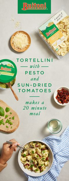 This easy meal comes together in just 20 minutes. Creamy ricotta, aged Parmesan and Romano fill the Three Cheese Tortellini, pairing nicely with freshly made basil pesto. Sun-dried tomatoes add a pop of color and flavor. Finished with a sprinkling of chopped fresh basil leaves and Buitoni Refrigerated Freshly Shredded Parmesan Cheese, this dinner is great for a busy weeknight or a relaxed weekend.