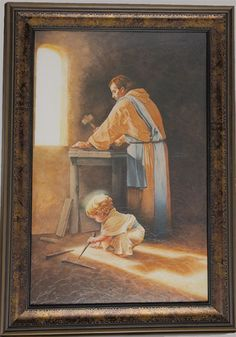 """[""""This striking painting, titled Destiny<\/i>, depicts Jesus \r\nas a young boy in Joseph's carpenter shop. The nail spikes that he plays with and the \r\nshadow of a cross that falls below him foretell the events to come - the destiny that Christ came to fulfill. The artist is anonymous.<\/p>\r\nFramed in brown wood, this print measures 18\""""(W) x 27\""""(H).<\/p>""""] $99.99"""