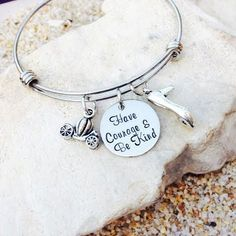 Jewelry - Bracelet - Bangle - Cinderella - Disney - Have Courage and Be Kind - Hand Stamped - Princess - Tiara - Gift for Her by KKandWhimsy on Etsy https://www.etsy.com/listing/232293260/jewelry-bracelet-bangle-cinderella